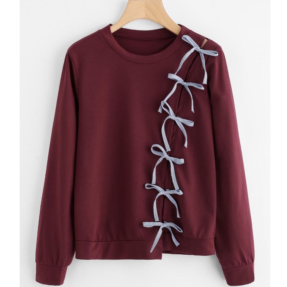 Shein Bow Tie Detail Marled Sweatshirt