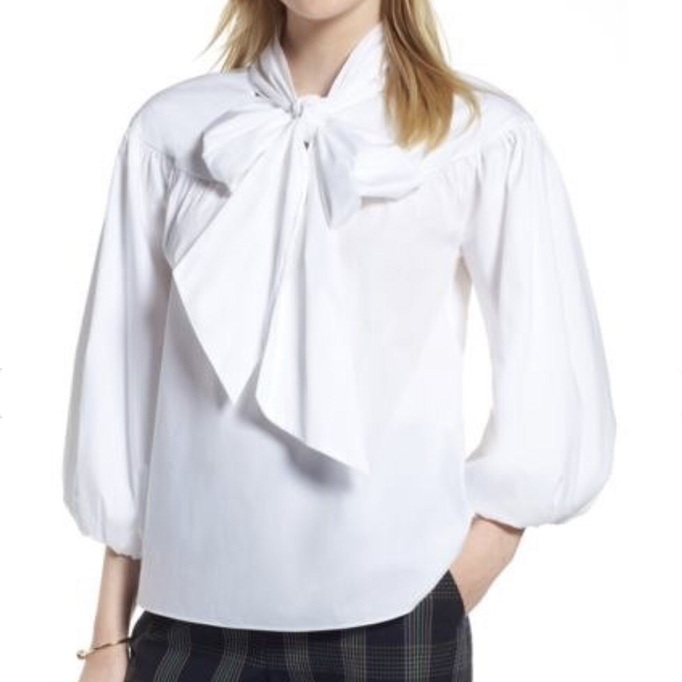 1901 Balloon Sleeve Bow Neck Blouse