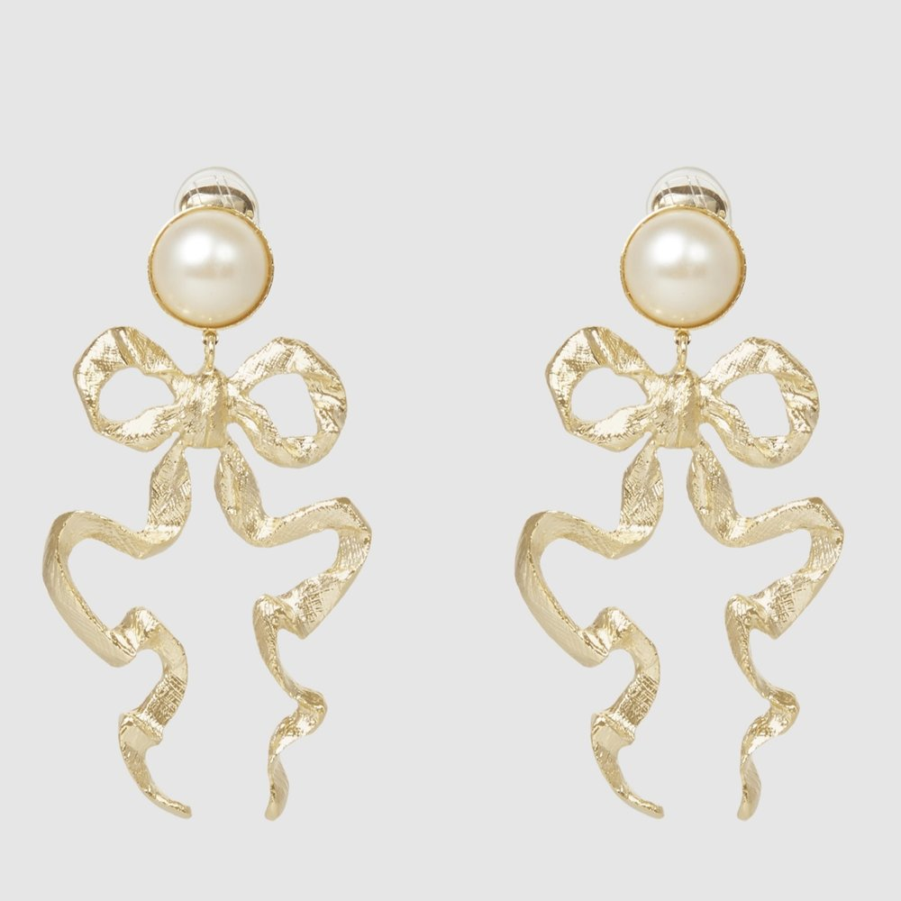 Sandra Mansour Gold-Tone And Faux Pearl Bow Earrings