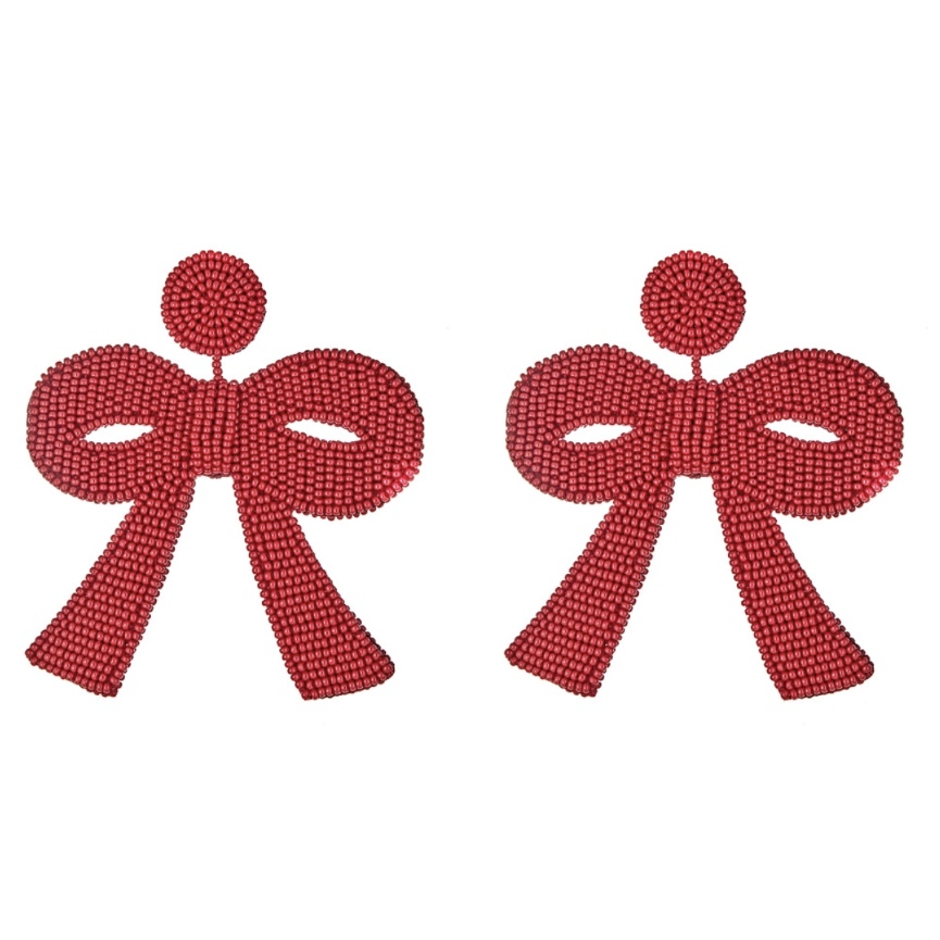 French and Ford Fifi Red Bow Earrings