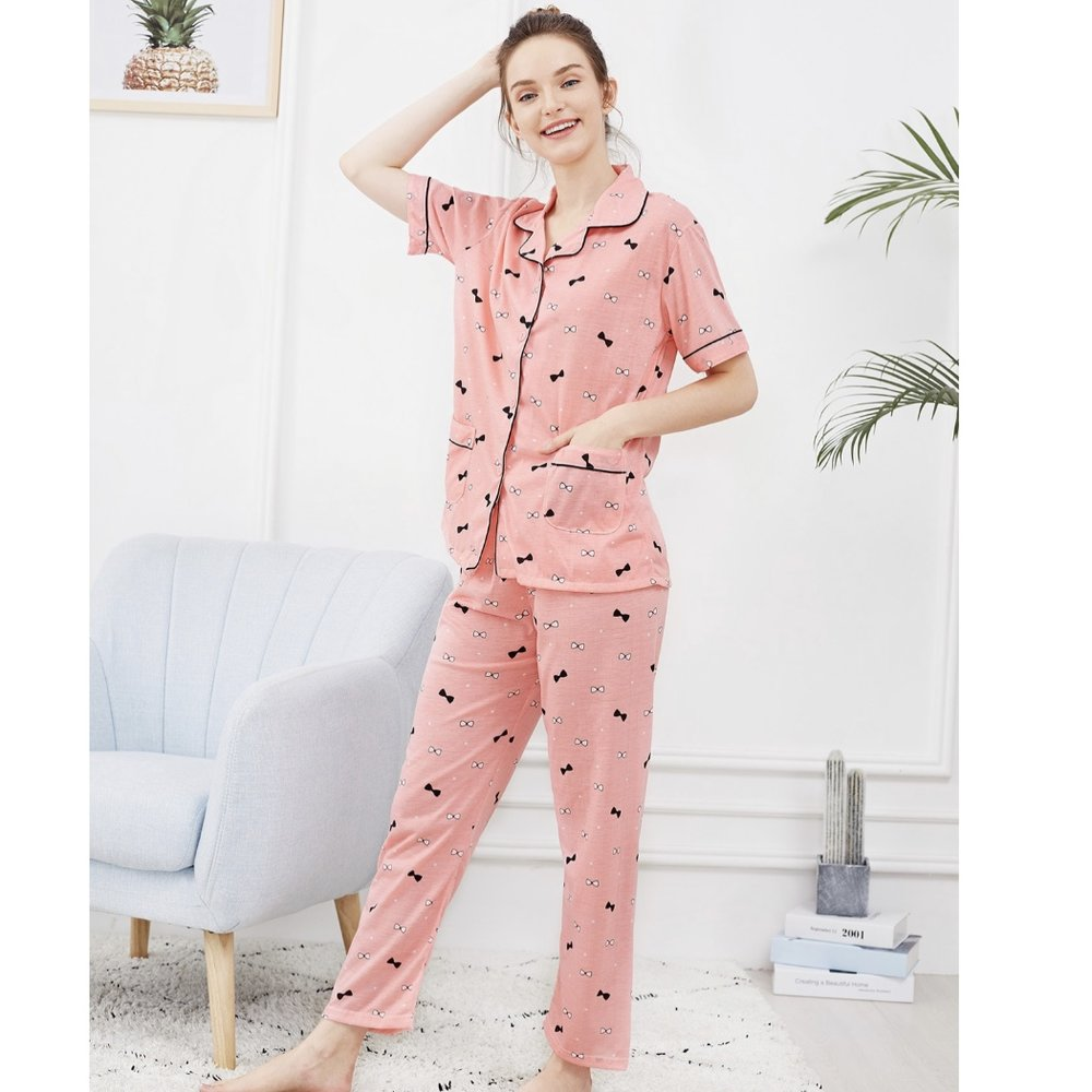 Shein Bow Print Button Up Pajama Set
