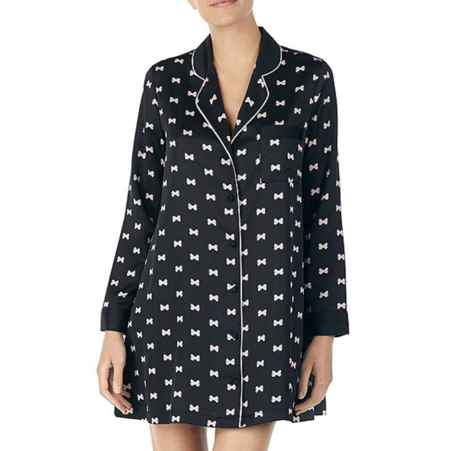Kate Spade Bow-Print Charmeuse Sleep Shirt