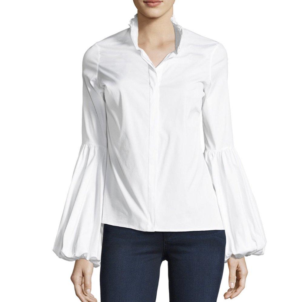 Caroline Constas Jaqueline Button-Front Poplin Shirt