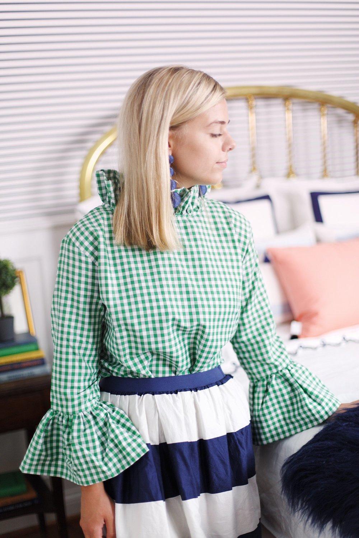 Elizabeth Wilson Designs Katherine Top in Green Gingham