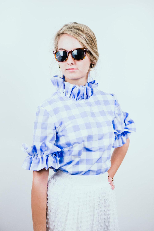 Elizabeth Wilson Designs Nancy Jane Top in Periwinkle Gingham