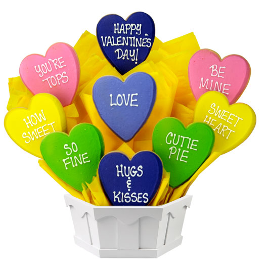 Cookies by Design - Conversation Hearts Cookie Bouquet
