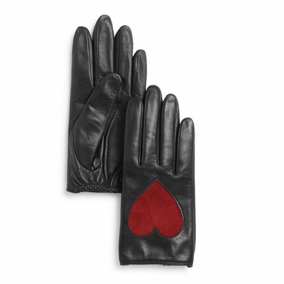 Aqua - Heart Appliqué Leather Tech Gloves