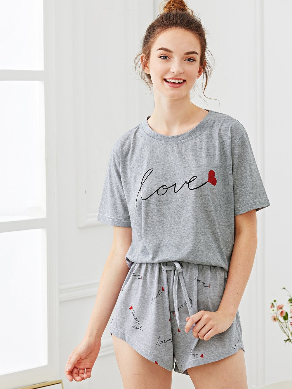 Shein - Heart & Letter Print Pajama Set