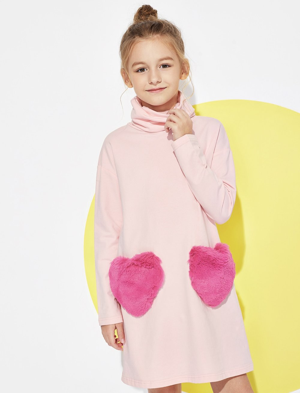 Shein - Girls High Neck Fleece Love Dress