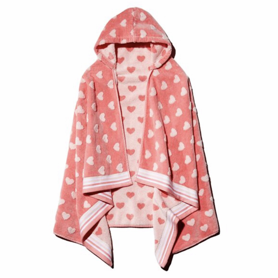 Caro Home - Sweet Hearts Kids Hooded Towel