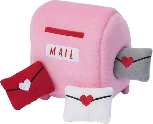 Zippy Paws - Burrow Squeaky Hide & Seek Plush Dog Toy, Mailbox with Love Letters