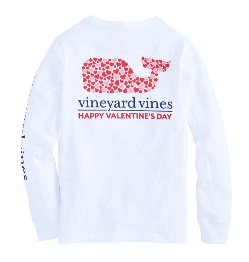 Vineyard Vines - Boys Long-Sleeve Valentine's Day Whale Pocket T-Shirt