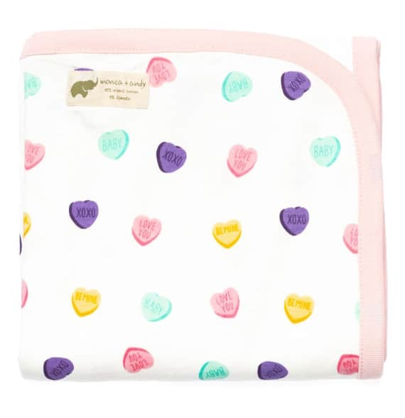 Monica + Andy - Conversation Heart Print Organic Stretch Cotton Receiving Blanket