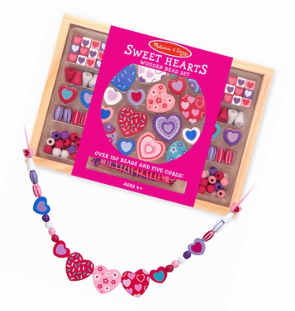 Melissa & Doug - Sweet Hearts Wooden Bead Set