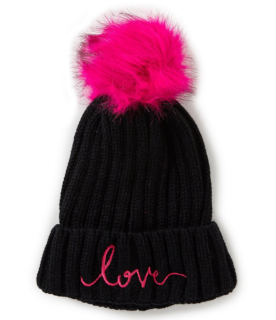 GB Girls - Faux Fur Pom Knit Love Beanie