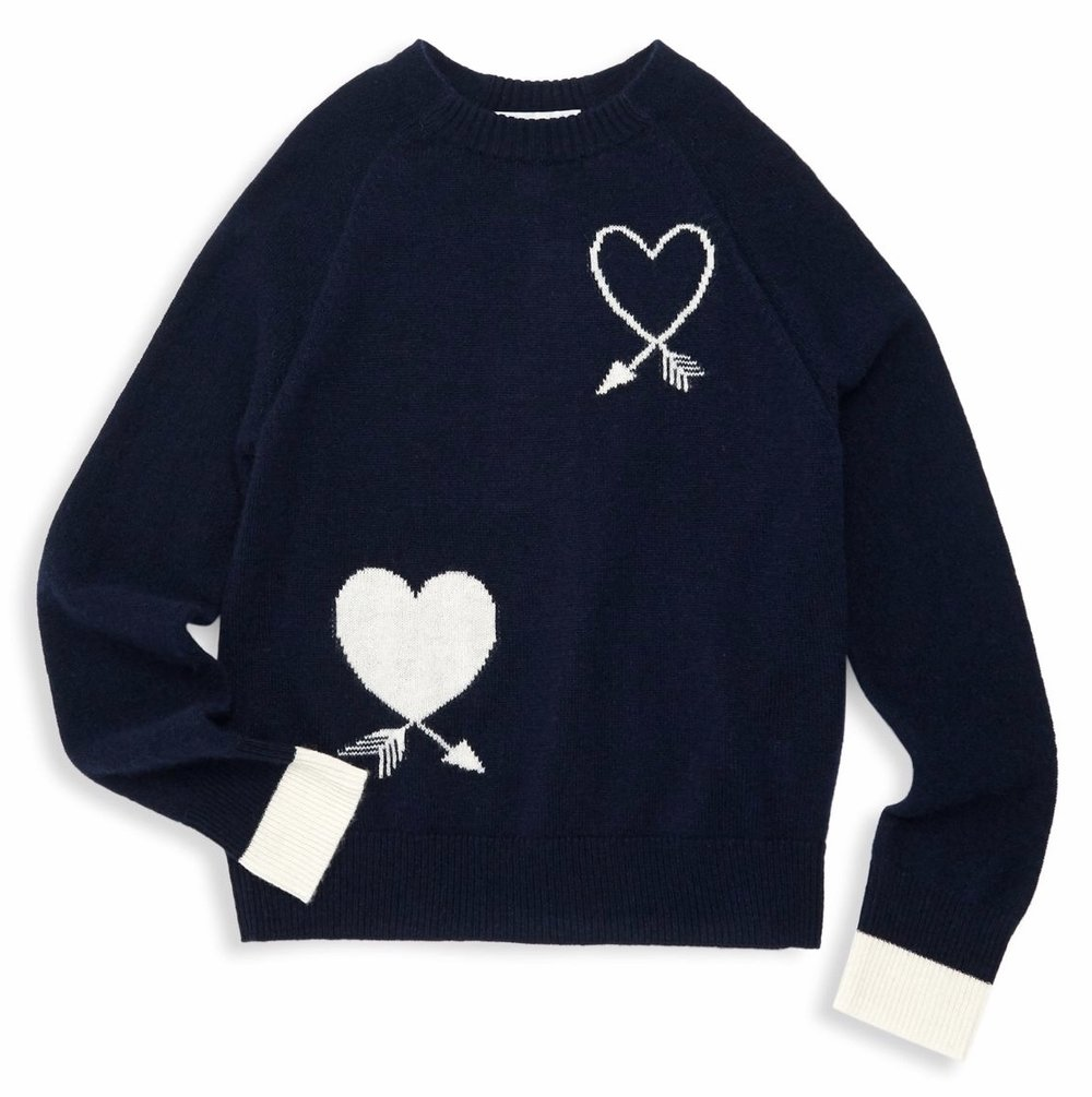 Autumn Cashmere - Girl's Wool & Cashmere Double Heart Sweater