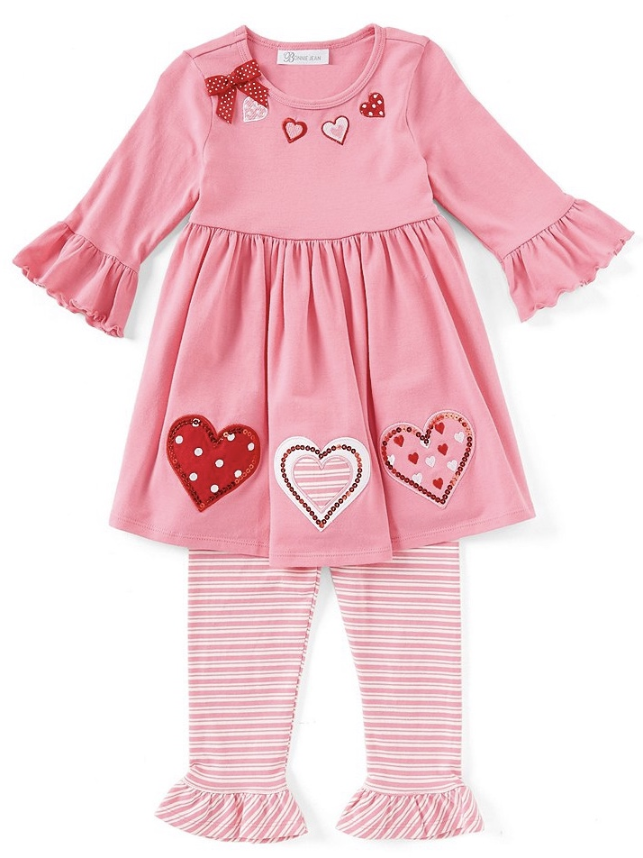 Bonnie Jean - Valentine's Day Heart-Appliqued A-Line Dress & Striped Leggings Set