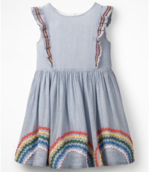 Mini Boden Embroidered Frill Dress -