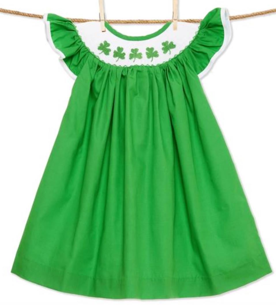 Shamrock Smocked Bishop Dress -