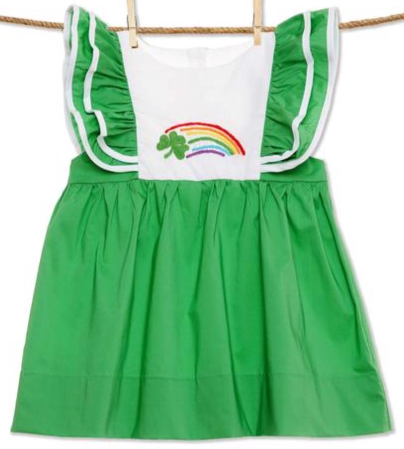 Embroidered Rainbow Shamrock Dress -