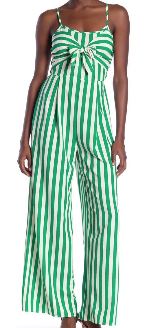 Flying Tomato Striped Tie Front Jumpsuit -