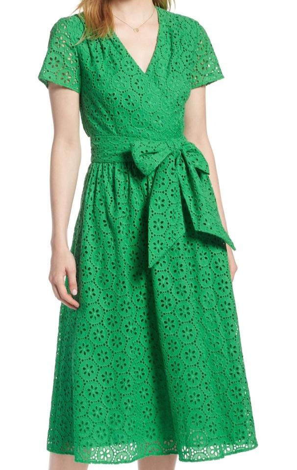 1901 Cotton Eyelet Short Sleeve Dress -