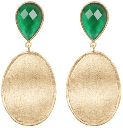 Faceted Emerald Crystal Mother of Pearl Doublet & Satin Wavy Oval Drop Earrings -
