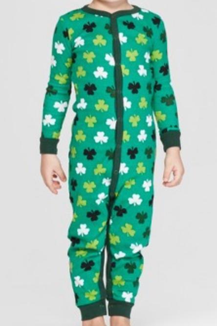 Target Snooze Button Toddler St. Patrick's Day Clover Pajamas -