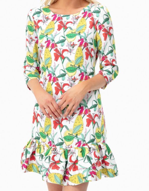 Persifor Green Flowers Poppy Dress -