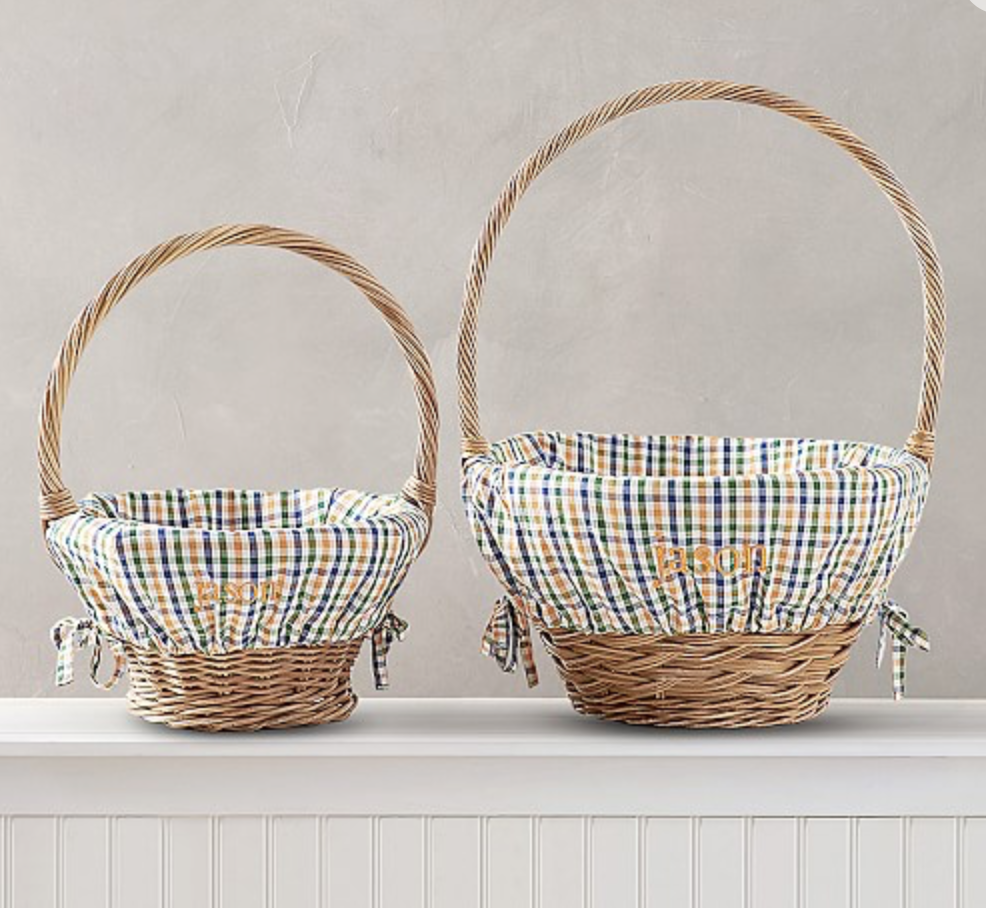 Pottery Barn Orange/Navy Plaid Print Easter Basket Liners (Perfect for Auburn & Florida fans!) -