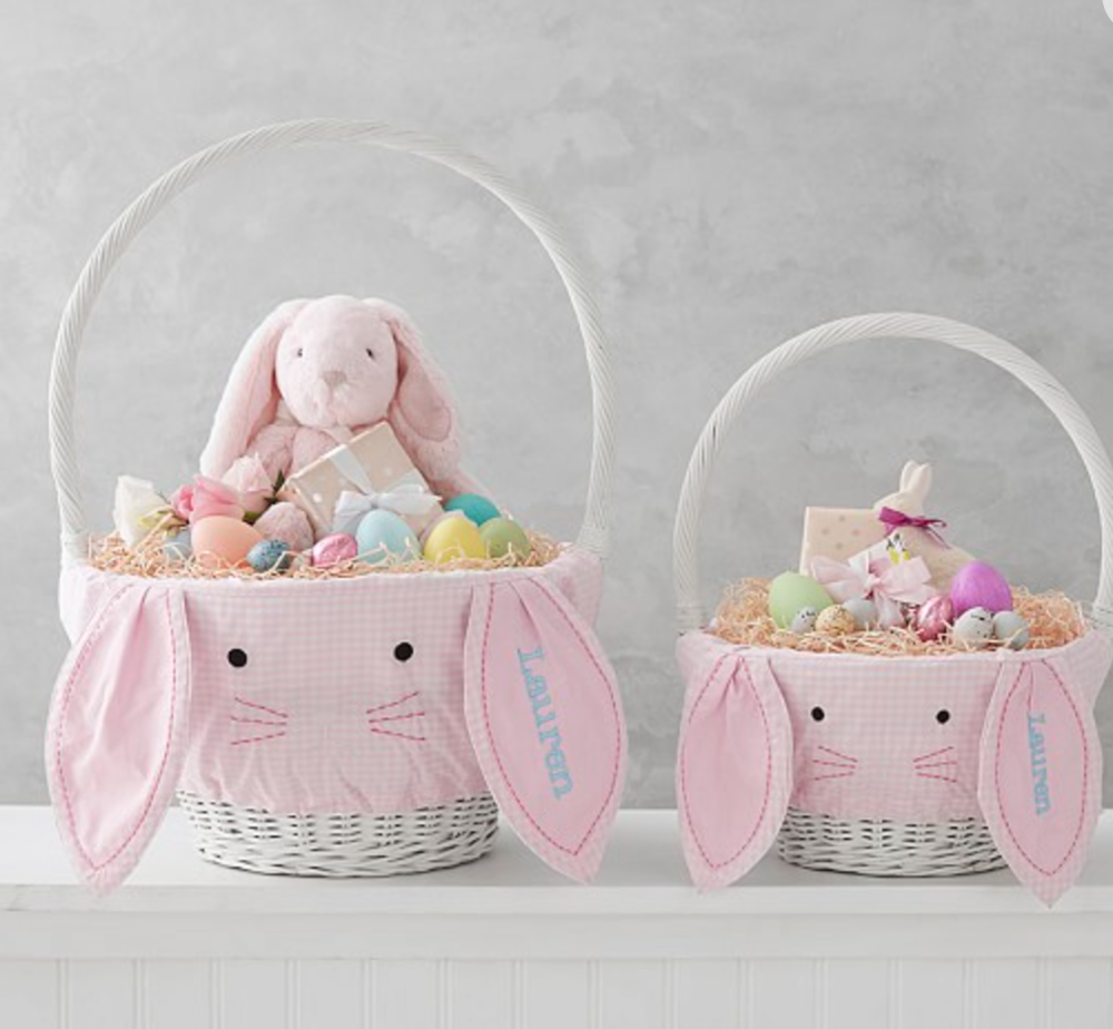 Pottery Barn Pink Gingham Bunny Face Basket Liner -