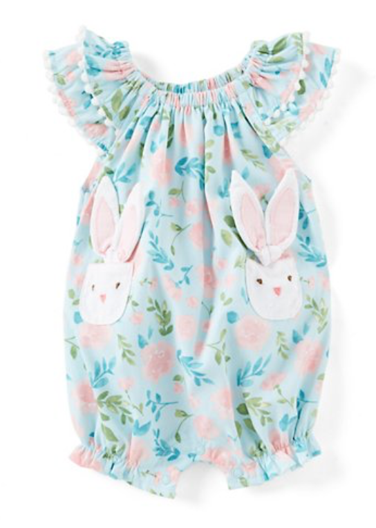 Baby Girls Newborn-18 Months Easter Bunny-Pocket Floral Bubble Romper -