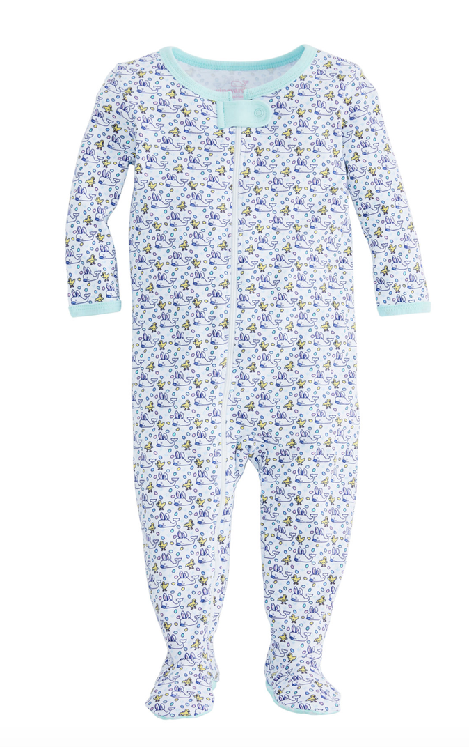 Vineyard Vines Baby Bunny Whale Footed One-Piece -