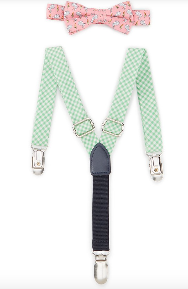 Vineyard Vines Baby Boys Bunny Print Adjustable Bow Tie & Suspenders Set -