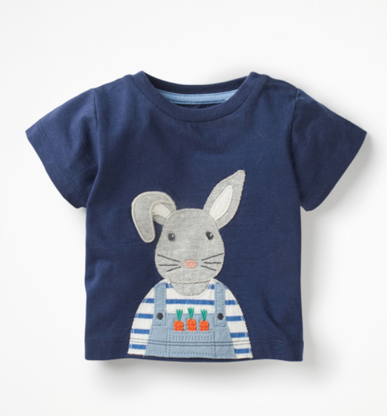 Mini Boden On-the-farm T-shirt (College Blue Bunny) -