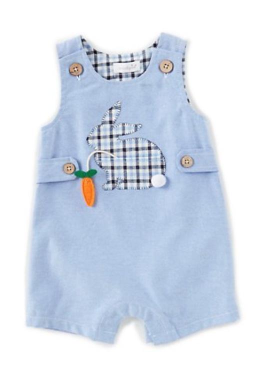 Mud Pie Baby Boys Newborn-18 Months Easter Bunny Shortall -