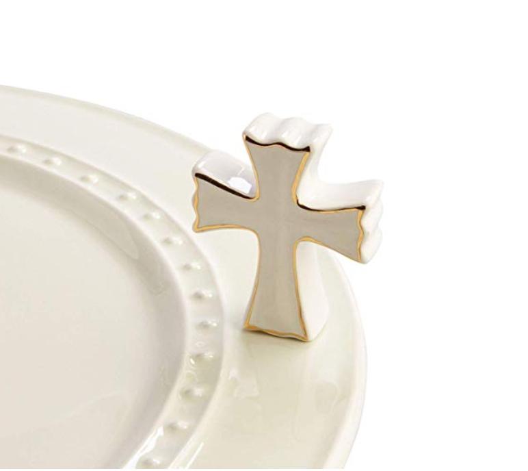Nora Fleming Hand-Painted Mini: Cross (White Cross) -