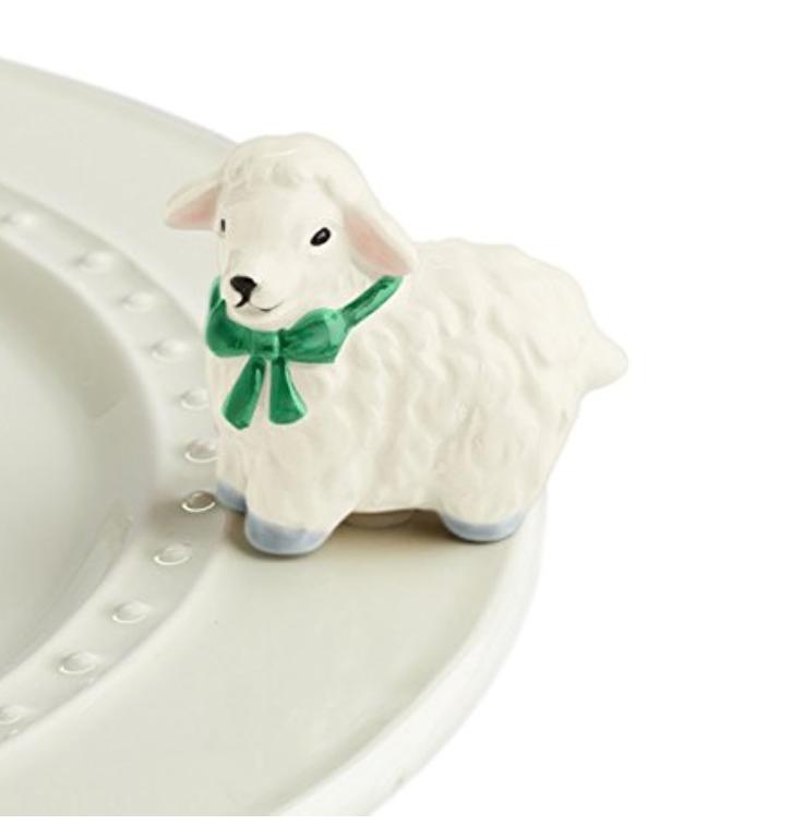 Nora Fleming Hand-Painted Mini: I Love Ewe (White Lamb) -
