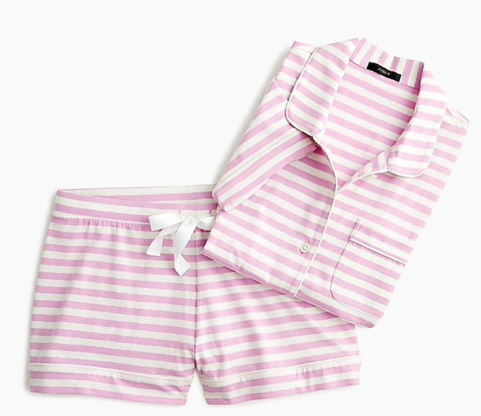 J. Crew Dreamy short-sleeve cotton pajama set in stripe -