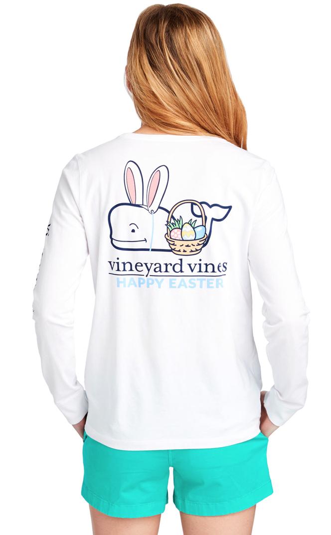 Vineyard Vines Long-Sleeve Easter Basket Whale Pocket Tee -