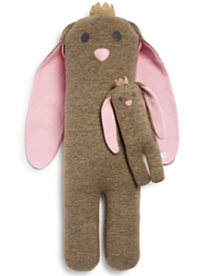 Large Soft-Knit Bunny with Crown - Ages 0+ -