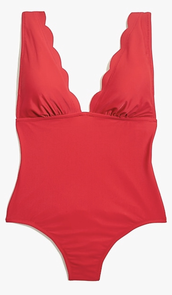 J. Crew Factory Scalloped One-Piece Swimsuit