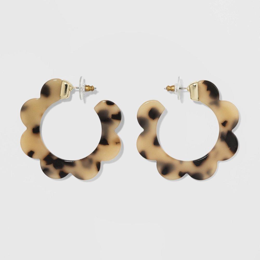 SUGARFIX by BaubleBar Whimsical Resin Hoop Earrings - Tortoise