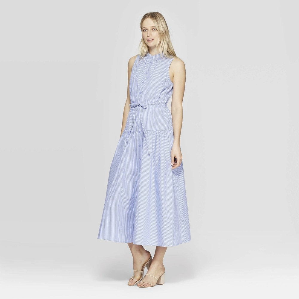 Pinstripe Sleeveless High Neck Button Front Dress - Who What Wear™ Blue