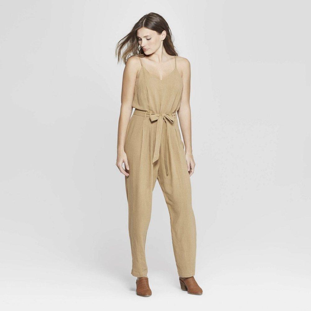 Sleeveless V-Neck Belted Jumpsuit - Universal Thread™ Sand