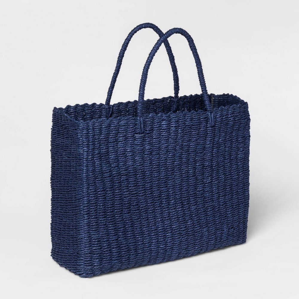 """20"""" x 15"""" Twisted Paper Tote With Handles Blue - Threshold™"""