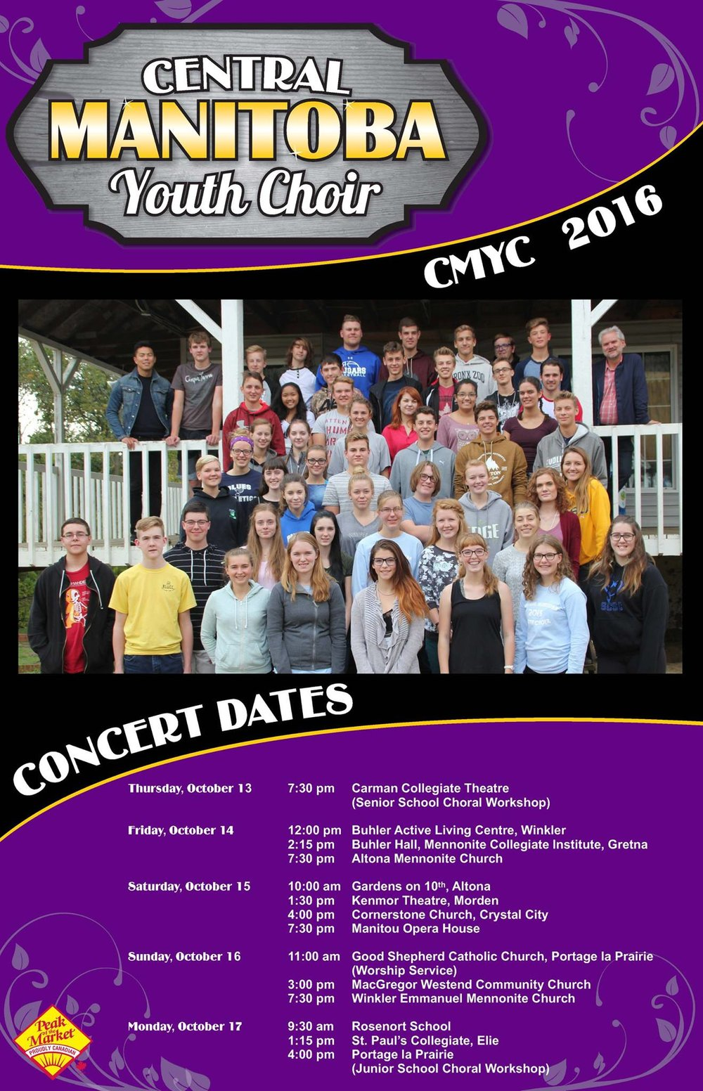 Central Manitoba Youth Choir (CMYC) 2016 Concert Dates