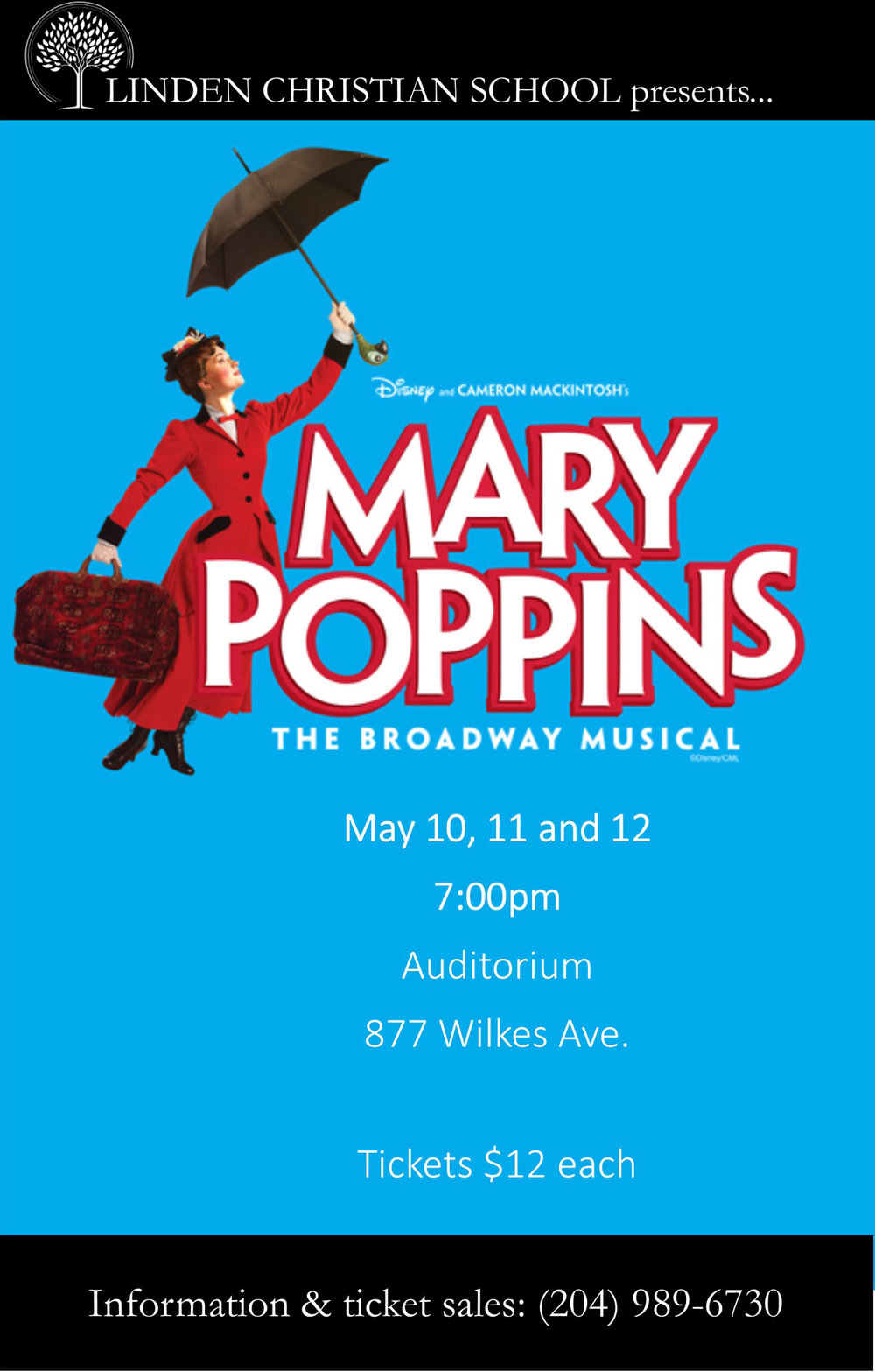 Linden Christian School: Mary Poppins poster