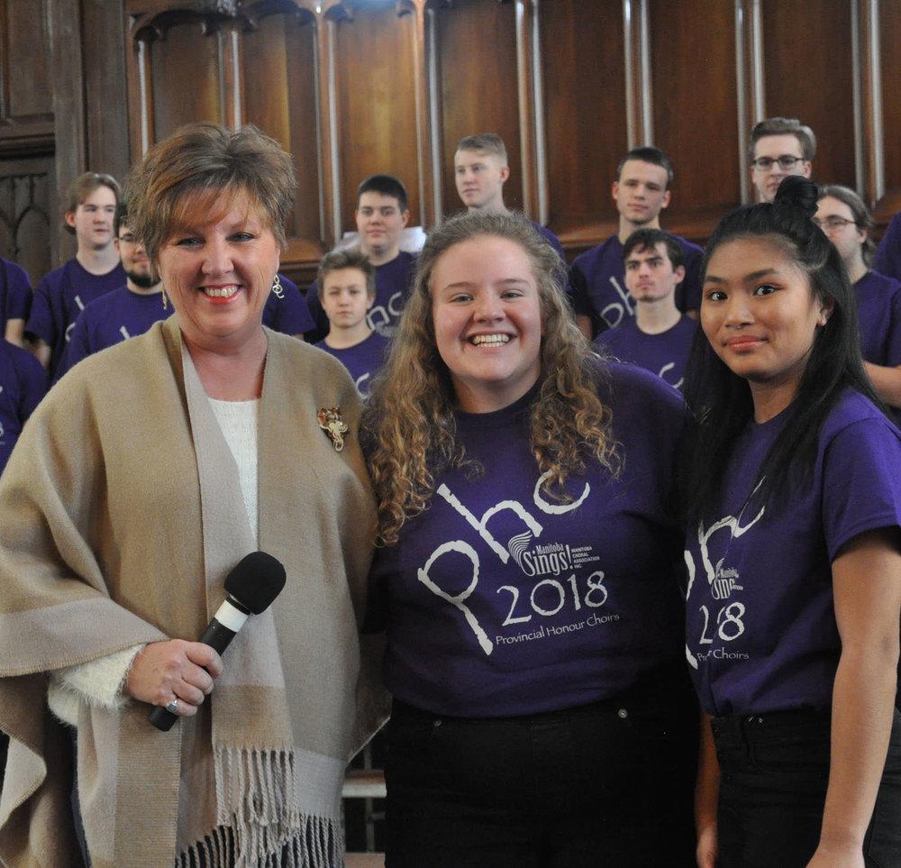 International Music Camp Scholarship Awards - Anita Munn presents scholarships to:Kelsey MartensHerlinda Dalayoar