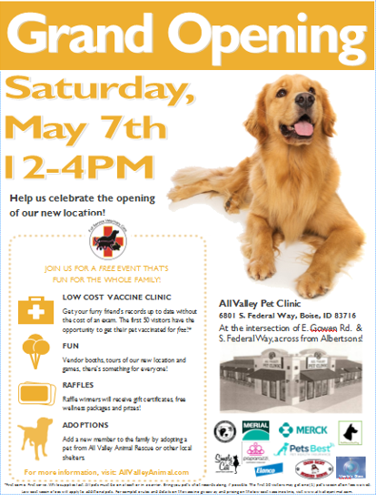 We are delighted to invite the community to the Grand Opening of our newest All Valley Pet Clinic location! The event will take place Saturday, May 7th from 12PM-4PM at 6801 S. Federal Way, Boise ID 83716 at the intersection of E. Gowen Rd. and S. Federal Way, across from Albertsons.